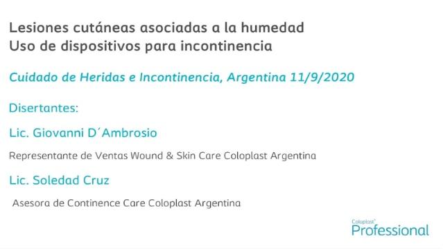 Lesiones cutáneas asociadas a la humedad; Uso de dispositivos para incontinencia